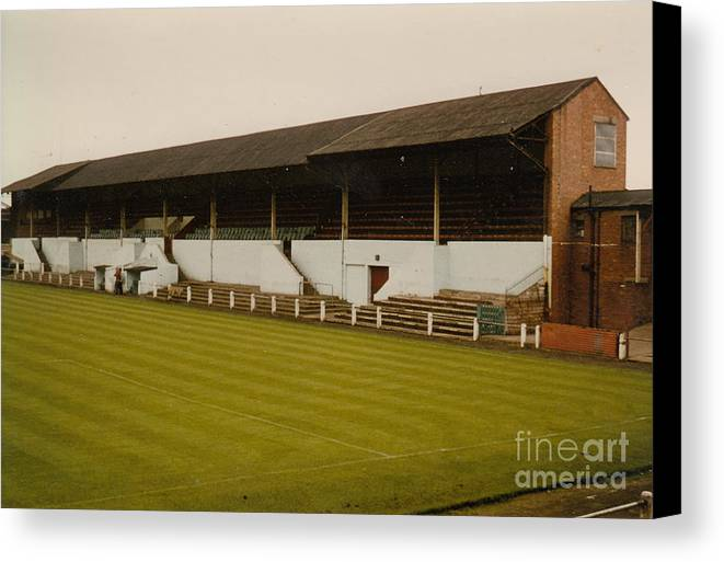 Canvas Print featuring the photograph Workington - Borough Park - Main Stand 2 - 1970s by Legendary Football Grounds
