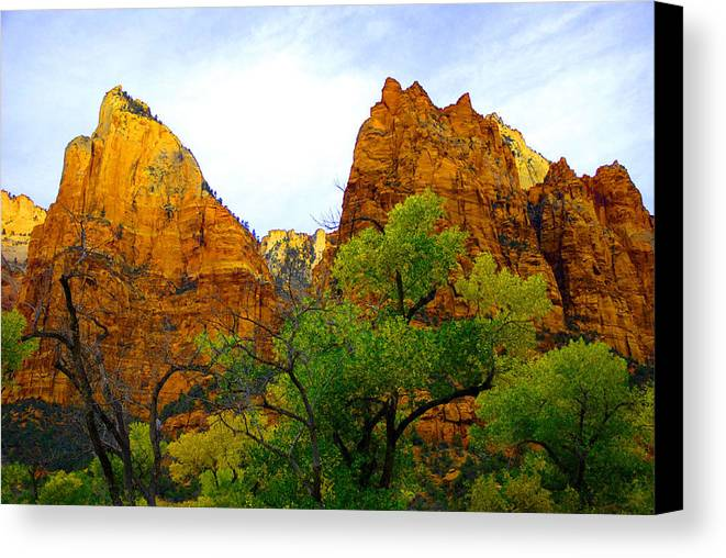 Utah Canvas Print featuring the photograph Zion In Autumn by Dennis Hammer
