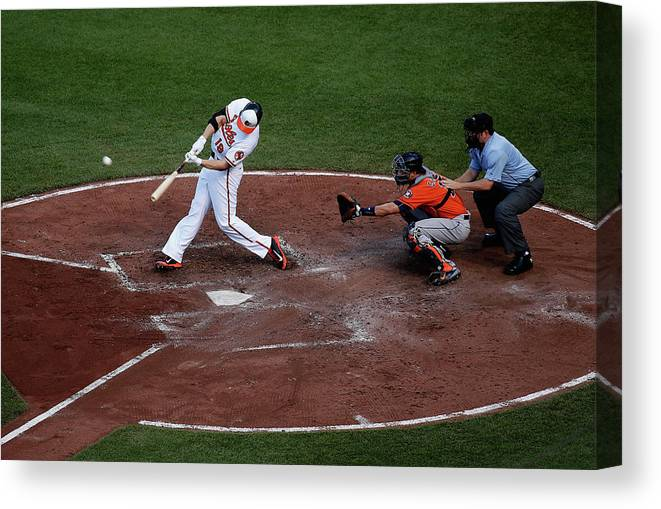 Baseball Catcher Canvas Print featuring the photograph Houston Astros V Baltimore Orioles 1 by Rob Carr
