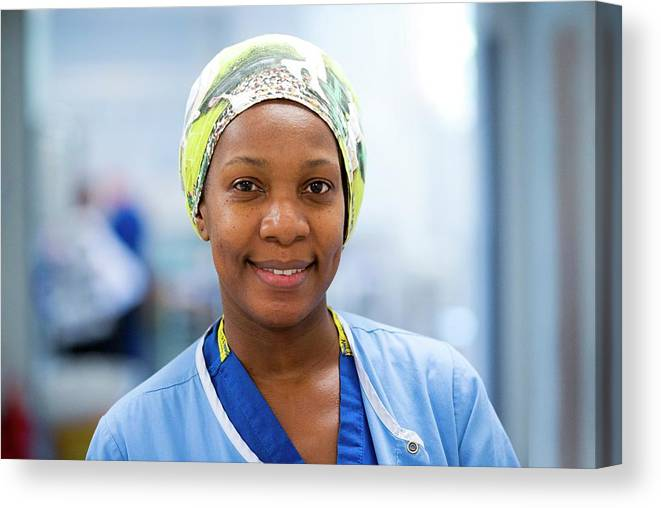 Portrait Canvas Print featuring the photograph Surgical Staff by Mark Thomas/science Photo Library