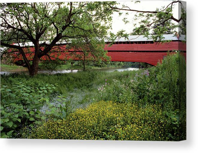 Photography Canvas Print featuring the photograph 1990s Dreibelbis Station Covered Bridge by Vintage Images