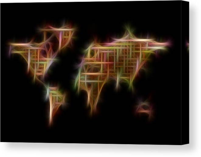 World Map Canvas Print featuring the painting Abstract Colorful World Map Digital Fractalius by Georgeta Blanaru