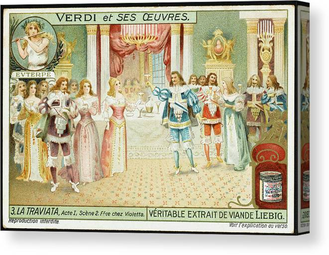Traviata Canvas Print featuring the drawing Act One Alfredo Meets Violetta by Mary Evans Picture Library