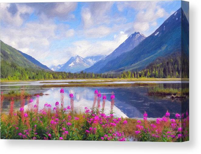 Alaska Canvas Print featuring the photograph Alaskan Horizons Oil Painting by Patrick Wolf
