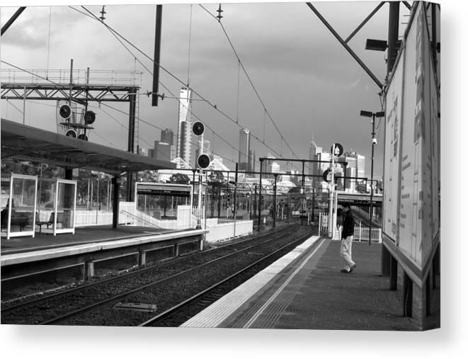 Railtracks Canvas Print featuring the photograph Alone In Railtracks by Sanjeewa Marasinghe