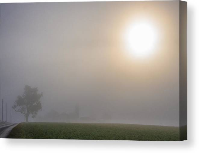 Amish Canvas Print featuring the photograph Amish Foggy Sunrise by Bruce Neumann