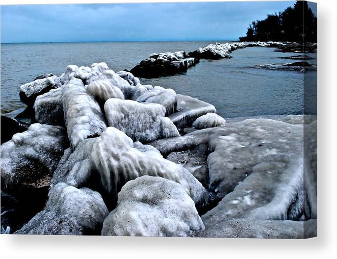 Freezing Canvas Print featuring the photograph Arctic Waters by Frozen in Time Fine Art Photography