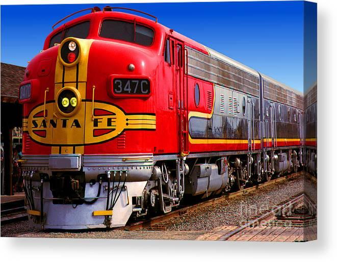 Canvas Santa Fe >> Atsf 347c Emd F7a Santa Fe Diesel Electric Locomotive Canvas Print