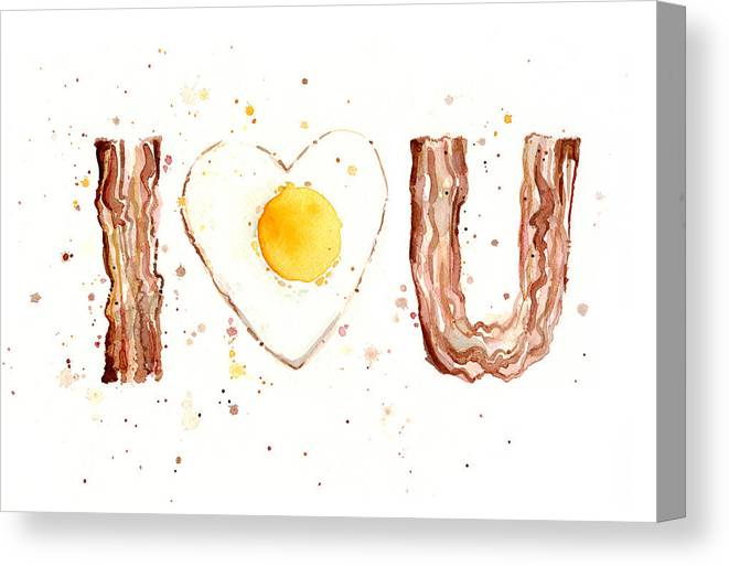 Bacon Canvas Print featuring the painting Bacon And Egg I Love You by Olga Shvartsur