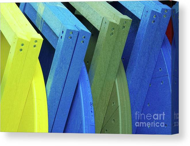 Beach Chairs Canvas Print featuring the photograph Beach Chair Palette 2 by Allen Beatty