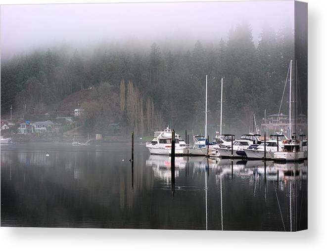 Boats Canvas Print featuring the photograph Boats Between Water And Fog by John Rossman