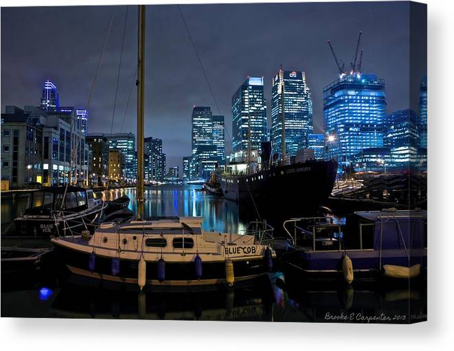 Buildings Canvas Print featuring the photograph Canary Wharf Dockyards by Brooke Carpenter