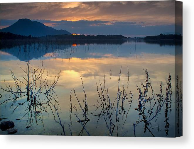 Sunset Canvas Print featuring the photograph Clouds On The Pink Water by Guido Montanes Castillo
