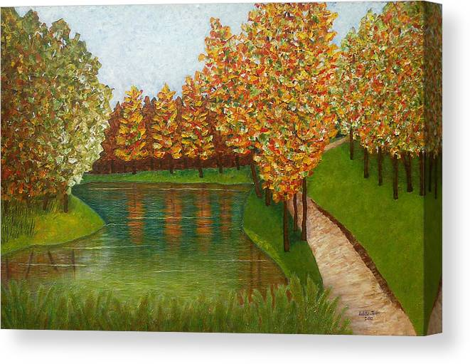 Colored Reflections Canvas Print featuring the painting Colored Reflections by Madalena Lobao-Tello