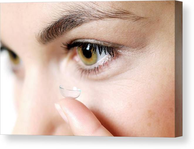 Equipment Canvas Print featuring the photograph Contact Lens by Lea Paterson/science Photo Library