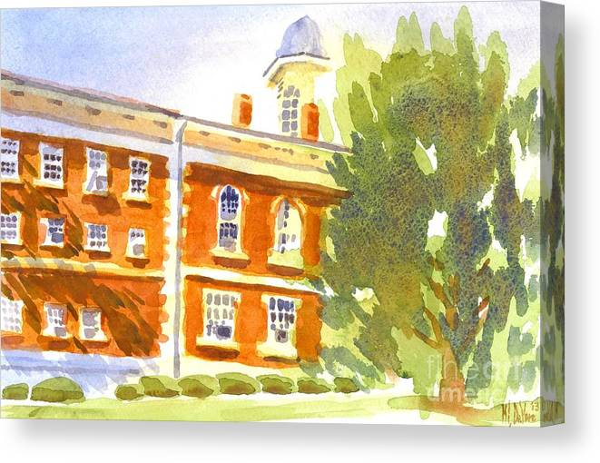 Courthouse In August Sun Canvas Print featuring the painting Courthouse In August Sun by Kip DeVore