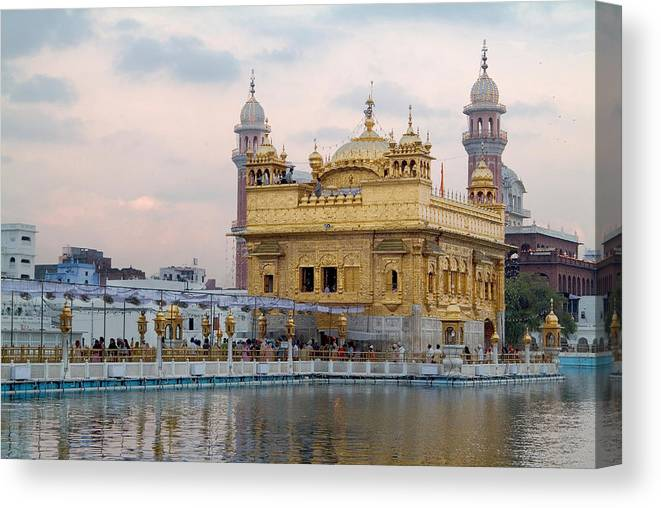 Golden Temple Canvas Print featuring the photograph Dawn At Golden Temple by Devinder Sangha