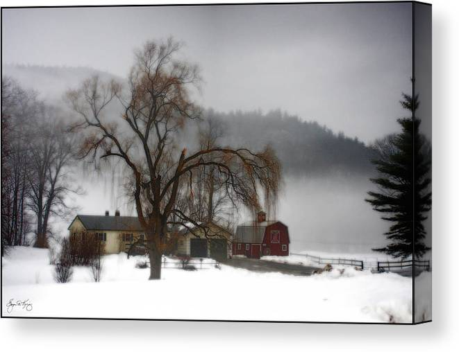 Farm Canvas Print featuring the photograph Fog Over Willlow Farm by Wayne King