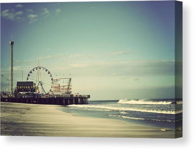 Funtown Pier Canvas Print featuring the photograph Funtown Pier Seaside Heights New Jersey Vintage by Terry DeLuco