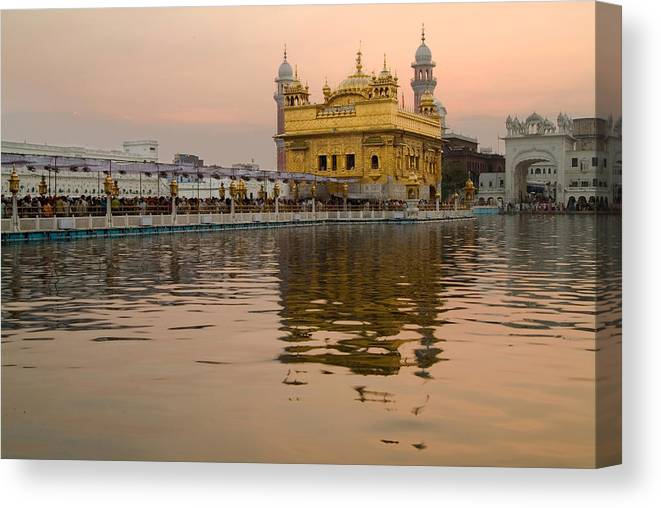 Golden Temple Canvas Print featuring the photograph Golden Tank by Devinder Sangha