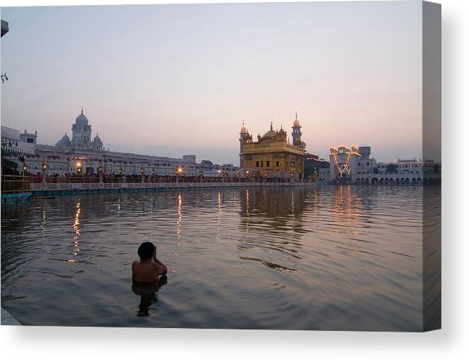 Golden Temple Canvas Print featuring the photograph Golden Temple At Early Morning by Devinder Sangha