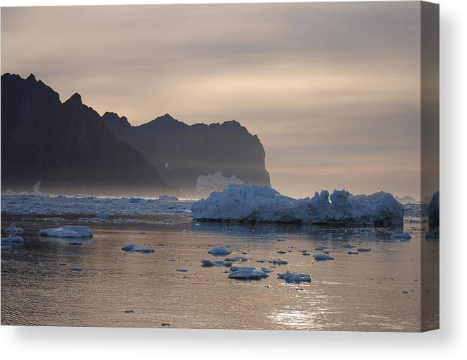 Greenland Canvas Print featuring the photograph Greenlandic Coast In Mist by Andreea-Elena Tibuleac