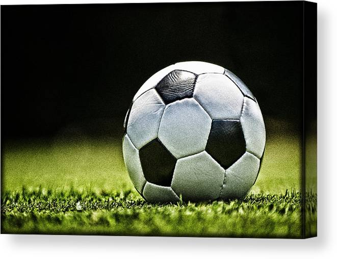 Soccer Ball Canvas Print featuring the photograph Grungy Grainy Soccer Ball E64 by Wendell Franks