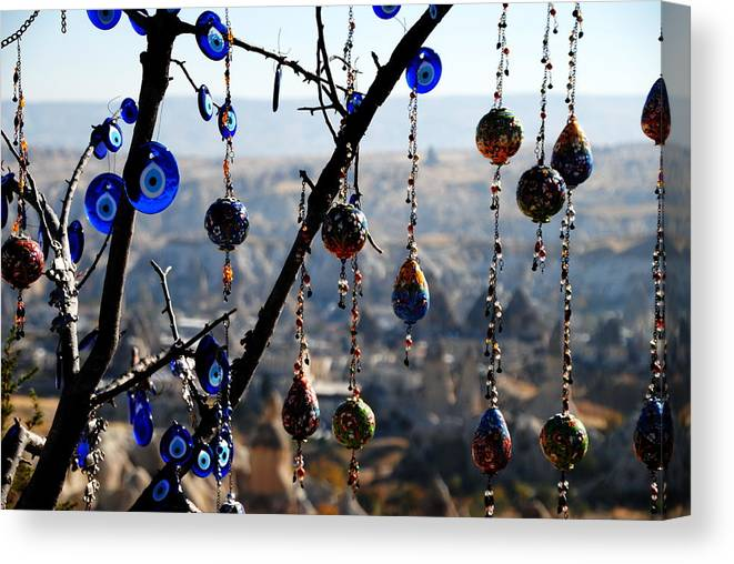 Turkish Handicrafts Canvas Print featuring the photograph Handicrafts In Cappadocia by Jacqueline M Lewis