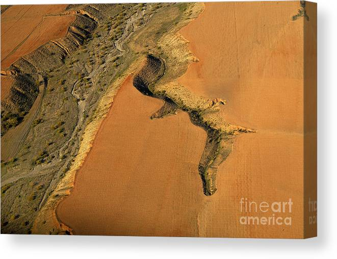 Aerial Photo Canvas Print featuring the photograph heridas de tierra Aerial photography by Guido Montanes Castillo