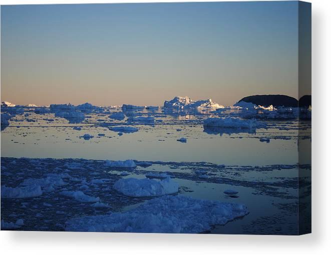Greenland Canvas Print featuring the photograph Icebergs Ahead by Andreea-Elena Tibuleac