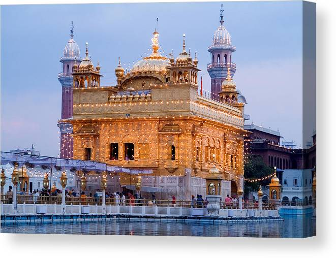 Golden Temple Canvas Print featuring the photograph Lighted Golden Temple by Devinder Sangha