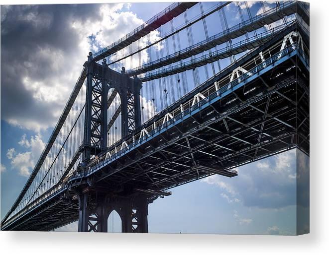 Manhattan Canvas Print featuring the photograph Manhattan Bridge by Chris Halford