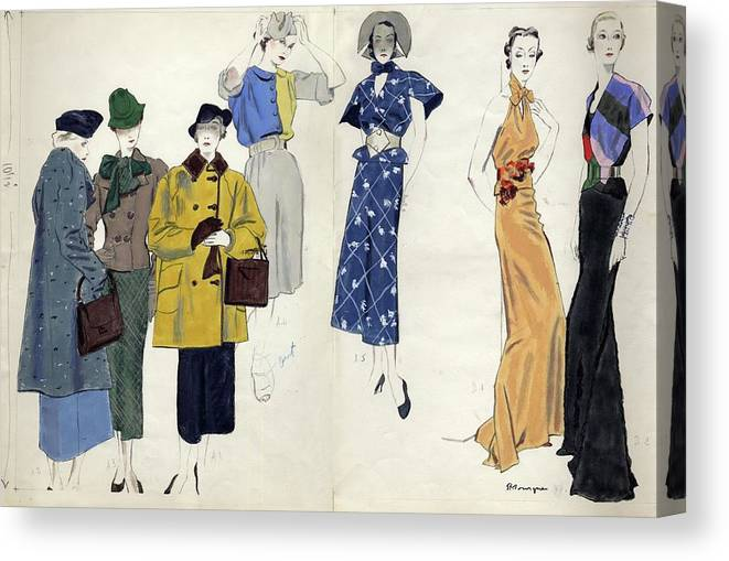 Fashion Canvas Print featuring the digital art Models Wearing Schiaparelli by Pierre Mourgue