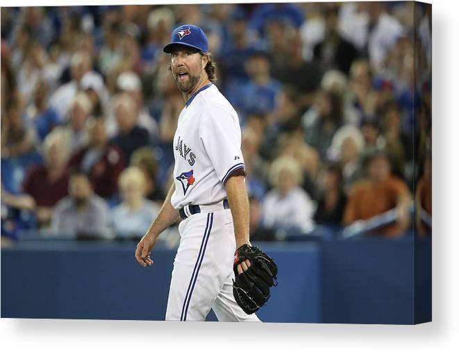 Three Quarter Length Canvas Print featuring the photograph New York Mets V Toronto Blue Jays by Tom Szczerbowski