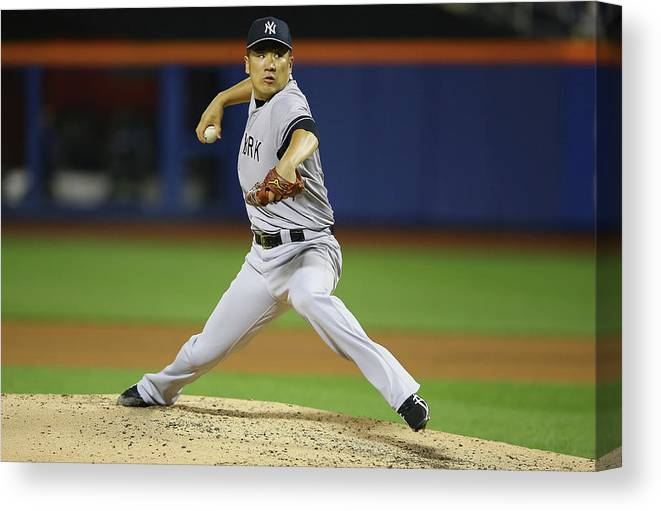 American League Baseball Canvas Print featuring the photograph New York Yankees V New York Mets by Al Bello
