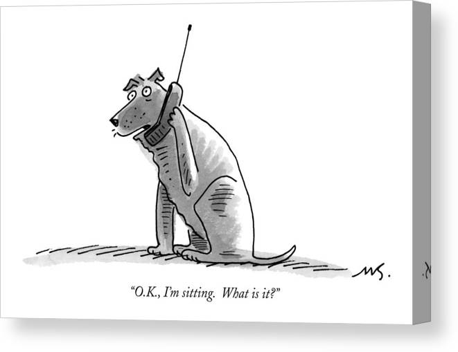 (dog Talking On Cell Phone.) Canvas Print featuring the drawing O.k., I'm Sitting. What Is It? by Mick Stevens
