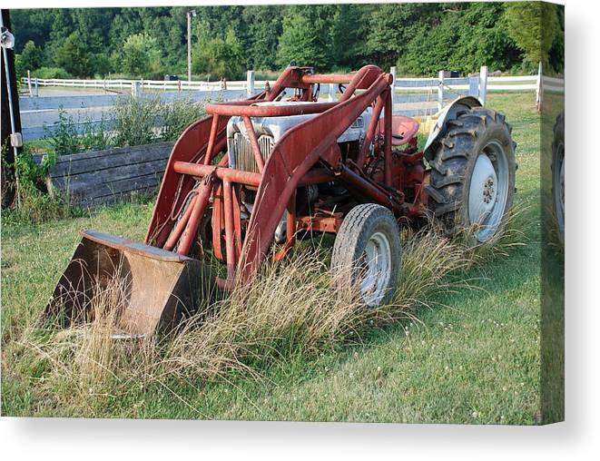 Tractor Canvas Print featuring the photograph Old Tractor by Jennifer Ancker