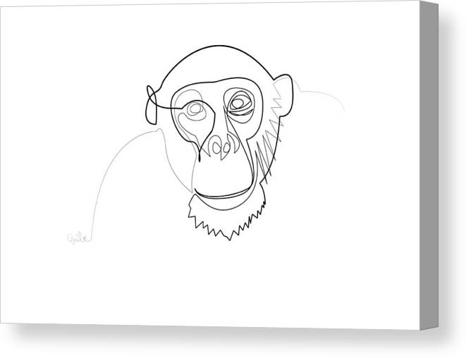 04e85ec6aa6 Minimal Canvas Print featuring the digital art Oneline Monkey by Quibe Sarl