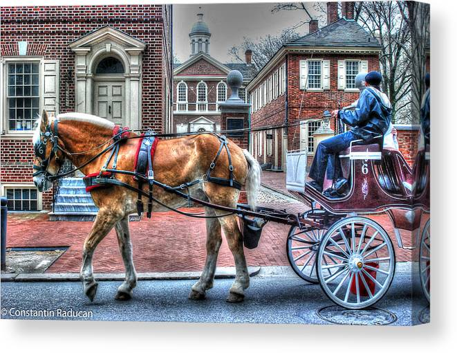 Philadelphia Canvas Print featuring the photograph Philadelphia Carpenter's Hall Front View And Horse by Constantin Raducan