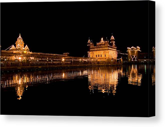 Golden Temple Canvas Print featuring the photograph Reflected Golden Temple by Devinder Sangha