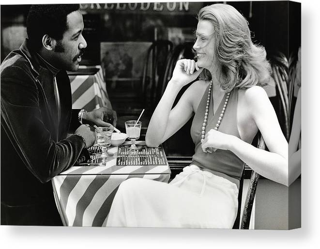 Actor Canvas Print featuring the photograph Richard Roundtree And Model At Cafe by Rico Puhlmann