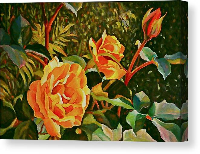 Floral Canvas Print featuring the painting Rose Ridge by Brenda Loschiavo