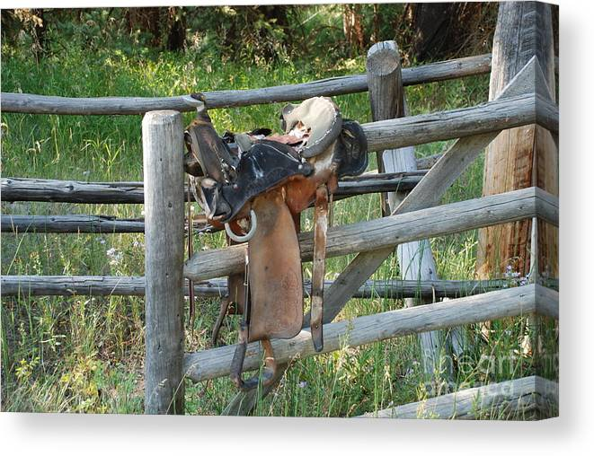 Cowboys Canvas Print featuring the photograph Saddle by Jim Goodman