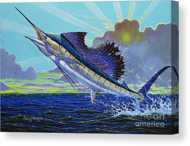 Sailfish Canvas Print featuring the painting Sail Away Off0014 by Carey Chen