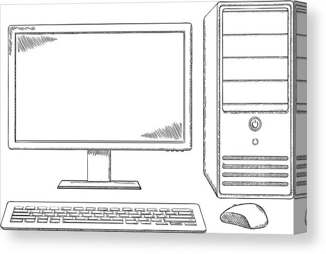 Sketch Style Desktop Computer Monitor Keyboard And Mouse Canvas Print