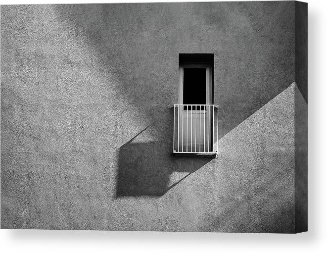 Abstract Canvas Print featuring the photograph Small Balcony And Its Shadow by Inge Schuster