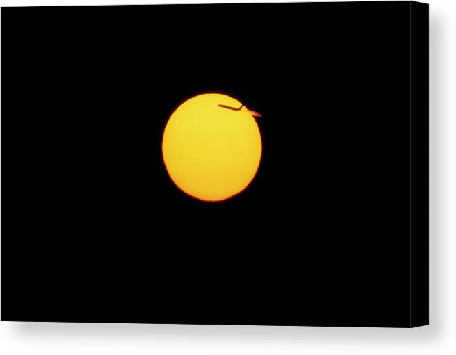 Sunset Canvas Print featuring the photograph Sun Seen At Sunset With An Aeroplane by Pekka Parviainen/science Photo Library