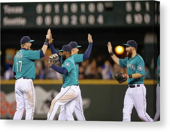 People Canvas Print featuring the photograph Texas Rangers V Seattle Mariners by Otto Greule Jr