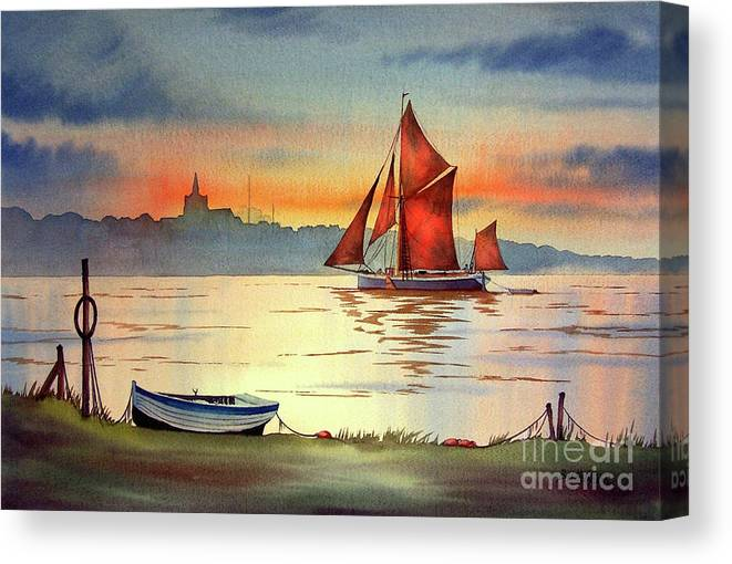 Thames Barge Canvas Print featuring the painting Thames Barge At Maldon Essex by Bill Holkham