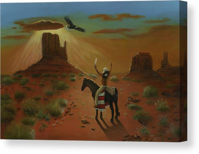 Eagle Indian Original Oil Painting Art Canvas Cecilia Brendel Painter Of Light Native American Culture Story Holy Spirit Utah Monument Valley Desert Scene Cactus Sand Blue Sky Sun Set Apaloosa Horse Canvas Print featuring the painting The Eagle And The Indian by Cecilia Brendel